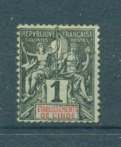 French India sc# 1 mhr cat value $1.40