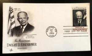 1383 Eisenhower, 1st Day Cover, Art Craft Cachet, Vic's Stamp Stash