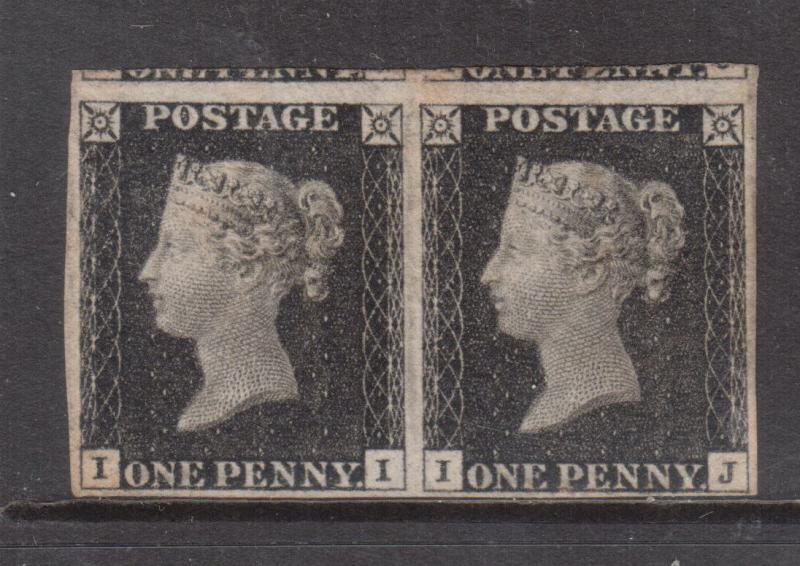 Great Britain #1 Very Fine Mint Plate #2 Horizontal Pair **With Certificate**