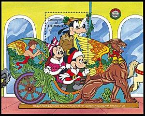 Dominica 1280, MNH, Disney Christmas 1990 Carousel Griffin souvenir sheet