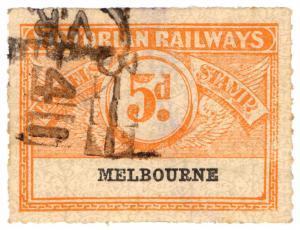 (I.B) Australia - Victoria Railways : Parcels Stamp 5d (Melbourne)