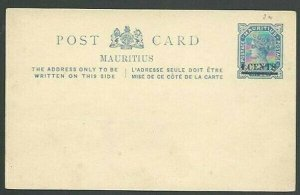 MAURITIUS QV 4c on 8c postcard fine unused.................................56514