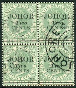 JOHORE-1891 2c on 24c Green.  A fine used block of 4 Sg 17