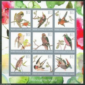 BEQUIA 2014  BIRDS OF THE WORLD  SHEET  MINT NH