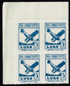 SPAIN STAMP LUGO Civil War War Period Local Stamp 5C BLUE MNH BLK OF 4