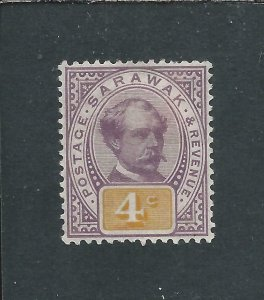 SARAWAK 1888-97 4c PURPLE & YELLOW MM SG 11 CAT £50