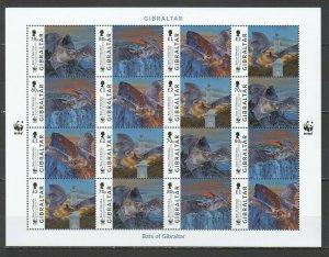 MV GIBRALTAR ANIMALS & FAUNA WWF BATS #1832-5 MICHEL 48 EURO 1SH MNH