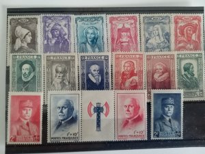 Collection France Stamps 1943 Complet series Catalogue € 42