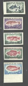 IVORY COAST 1973  FISH  #344 - 348  IMPERF.   MNH