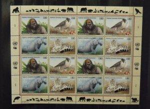 4515   UN - Geneva  MNH # 228,229,230,231   Endangered Species Sheet   CV$ 18.00