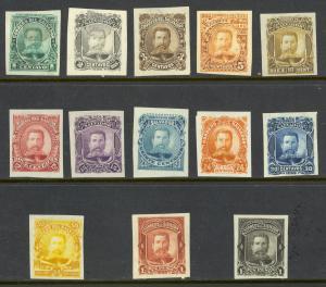 EL SALVADOR 1895 General Antonio Ezeta Imperf. Color Trials Set +1 13 Stamps