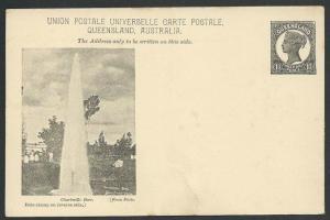 QUEENSLAND QV 1½d pictorial postcard CHARLEVILLE BORE unused...............59985