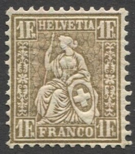 SWITZERLAND 1881 1F Gold MNH Sc 68  VF, cv $40