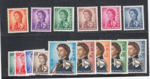 NONG KONG # 203 - 217 VF/MH Set Of 15 QE11 PORTRAIT ISSUES CAT VALUE $266+