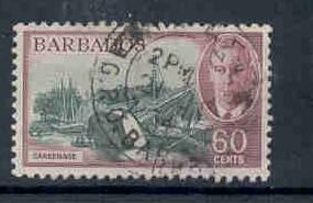 Barbados Sc 225 1950 60c G VI & Careenage stamp used