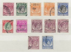 Malaya Singapore KGVI 1948 Collection Of 12 Values Shades SG2/24a FU J8087