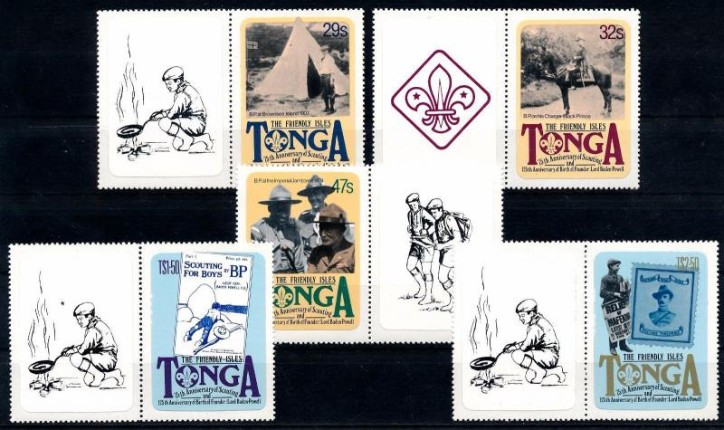 [66778] Tonga 1982 Scouting Jamboree Pfadfinder with Large Labels Self Adh. MNH