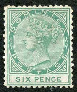 DOMINICA SG2 1874 6d Green Wmk Crown CC perf 12.5 un-used (no gum)