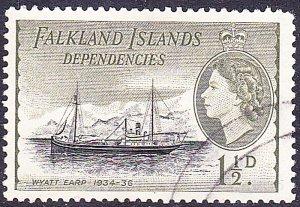 FALKLAND ISLANDS 1954 QEII 1.5d Black & Olive SGG28 Used