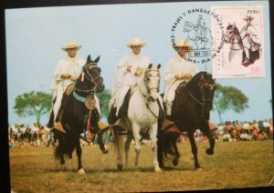 A) 1974, PERU, HORSES, COSTUMES AND TYPICAL DANCES, FDC