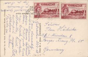 Gibraltar 2 1/2d QEII Sailing in the Bay (2) 1958 Gibraltar PPC to Munich, Ge...