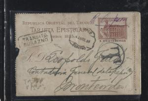 URUGUAY (P0105B)  1884 3C LETTER CARD TAXED TO MONTEVIDEO