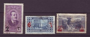 J23996 JLstamps 1937-42 lebanon used #145,147,150 ovpt,s