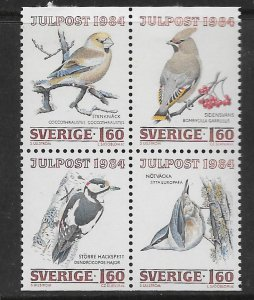 SWEDEN,1517-1520, HINGED BLOCK OF 4,BIRDS