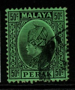 MALAYA PERAK SG99 1936 50c BLACK/EMERALD FINE USED