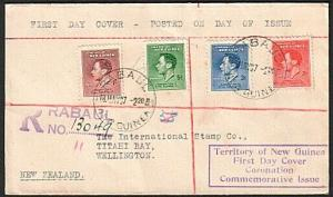 NEW GUINEA 1937 Coronation Registered FDc ex Rabaul........................77210