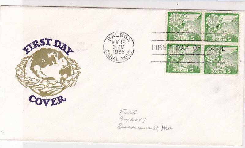 Canal Zone 1958 Balboa Cancel Globe+ Wing FDC Stamps Block Cover Ref 25165