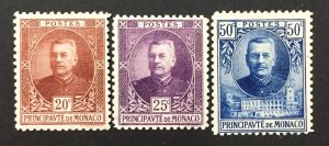 Monaco 1923  #52-3, 55, Louis II, Unused/MH.