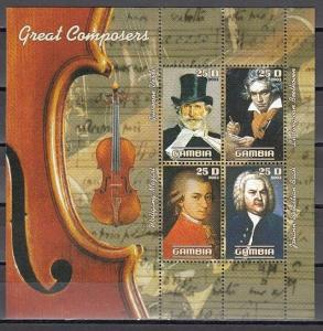 Gambia, 2003 Cinderella issue. Great Classical Composers sheet of 4.