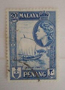Malaya Penang 1957 Queen Elizabeth II & Local Motives Boat used