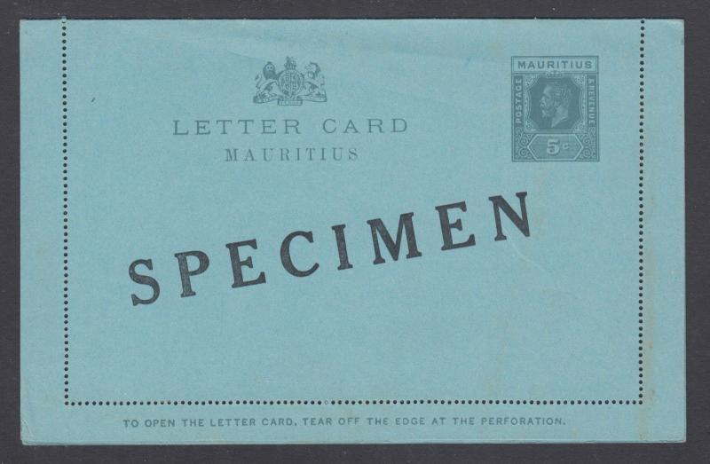 Mauritius H&G A3, 1925 5c grey on blue KGV Letter Card, SPECIMEN ovpt
