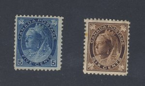 2x Canada Victoria MNG stamps #71-6c ML F #79-5c Numeral. F Guide Value = $95.00