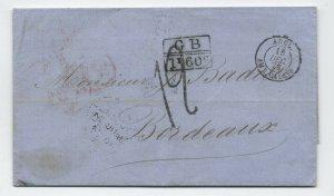 1873 Haiti to Bordeaux transatlantic stampless Jacmel postmark [H.557]