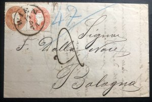 1861 Vienna Austria Vintage Letter Cover To Bologna Italy