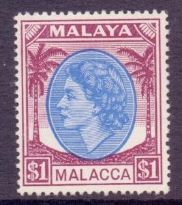 Malaya Malacca Scott 42 - SG36, 1954 Elizabeth II $1 MH*