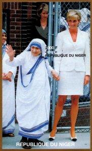 Niger IMPERF. 1997 Princess Diana & Mother Teresa 1v Mint S/S. (#9)