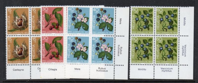 Switzerland Sc B418-21 1973 Forest  Pro Juventute stamp set mint NH Blocks of 4