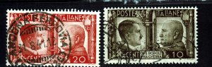J22600 Jlstamps 1941 WWII  italy used #413-4 hitler & mussolini