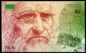 Palau Art Stamps 2018 MNH Leonardo Da Vinci Inventions Famous People 1v IMPF S/S