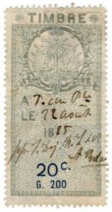(I.B) Haiti Revenue : Duty Stamp 20c