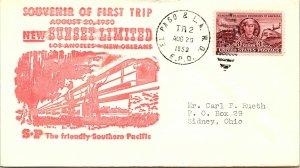 1950 El Paso & LA.  R.P.O. Rairoad + First Trip Sunset Limited Cachet #111