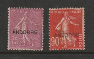 Andorra (French) the MH 75c & 90c from the 1st overprint set
