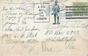 US Naval Cover USS Lexington  CV2  1933  Post Card