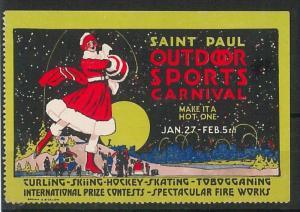 VINTAGE  POSTER STAMP Label - St Paul winter carnival: CURLING , HOCKEY, SKATING