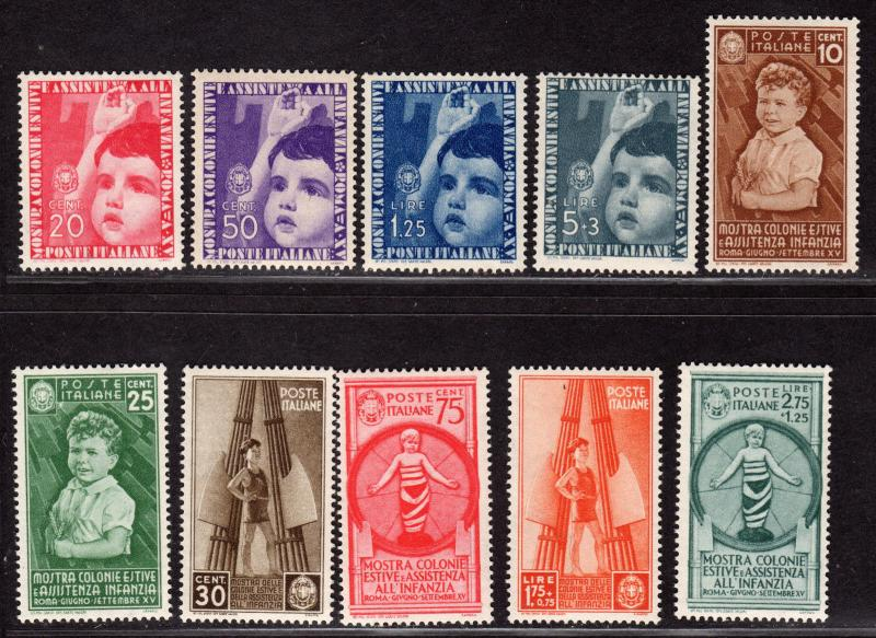 $Italy Sc#367-376 M/LH/VF, complete set, sm. thin on 30c, Cv. $148