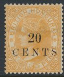 British Honduras SG 29 SC # 24 Used  20c OPT Crown CA see scans and details
